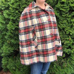 ⬇️75 Vintage Wool Plaid Cape Poncho Cloak Coat